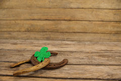 St Patricks Day shamrock with two horseshoes Stock Image