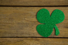 St Patricks Day shamrock. On wooden table Royalty Free Stock Images
