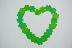 St Patricks Day shamrocks forming heart shape Royalty Free Stock Image
