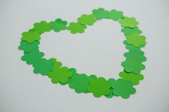 St Patricks Day shamrocks forming heart shape Stock Photo