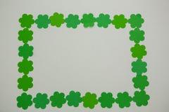 St Patricks Day shamrocks forming rectangle frame Royalty Free Stock Images