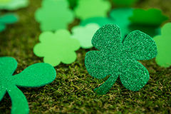 St Patricks Day shamrocks on grass Royalty Free Stock Photos