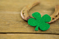St Patricks Day shamrocks with horseshoe Royalty Free Stock Photos