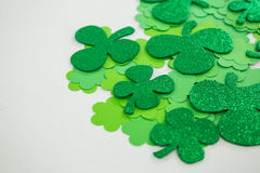 St Patricks Day shamrocks. On white background Stock Image