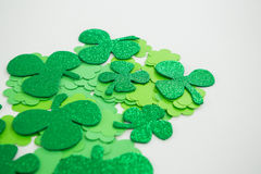 St Patricks Day shamrocks. On white background Stock Photography