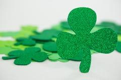 St Patricks Day shamrocks. On white background Stock Photo