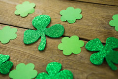 St Patricks Day shamrocks. On wooden table Stock Images