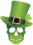 St Patricks Day Skull with Leprechaun Hat Royalty Free Stock Photography