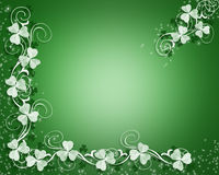 St Patricks Day Sparkle border. 3D Illustration for St Patrick's Day Card, background, border or frame with white shamrocks and sparkles Royalty Free Stock Image
