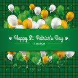 St Patricks Day Tartan Banner Balloons Cloverleafs Royalty Free Stock Images