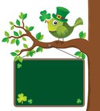 St Patricks Day theme board with bird Royalty Free Stock Photography