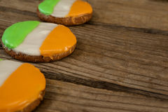 St. Patricks Day three cookies with irish flag toppings Stock Image