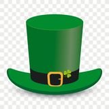 St Patricks Day Transparent Background. St Patricks Day irish hat on the checked background Stock Image