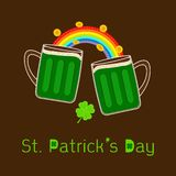 St Patricks Day Two green beer glass mug rainbow, coin and clover leaf. Flat design Royalty Free Stock Image