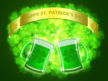 St Patricks Day Two Green Beers Banner Shamrock Royalty Free Stock Photography