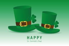 St. Patricks Day two green hats with clover leaf vector illustration