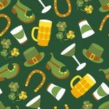 St. Patricks Day vector design of elements seamless pattern. St. Patricks Day vector design elements seamless pattern Royalty Free Stock Images