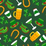 St. Patricks Day vector design of elements seamless pattern. St. Patricks Day vector design elements seamless pattern Stock Photography