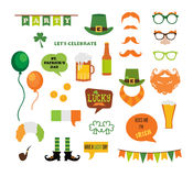 St. Patricks Day vector design elements set. icons and photo booth props Stock Images