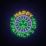 St Patricks Day Vector. Neon sign, logo, invitation symbol, greeting card, postcard. Design a neon style template for. Your projects. Bright night banner Royalty Free Stock Photo