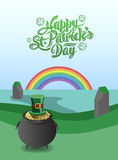 St patricks day vector with pot of gold and rainbow Stock Photo