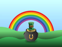 St patricks day vector with pot of gold and rainbow Royalty Free Stock Photo