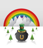 St patricks day vector with pot of gold and rainbow Stock Photography
