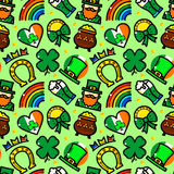 St. Patricks Day vector seamless pattern. St. Patricks Day seamless pattern with objects in line style, holiday vector illustration Stock Illustration