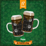 St. Patricks Day Vintage Cover 2 Beer Glasses Stock Image