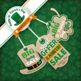 St. Patricks Day Vintage Edge 3 Carton Price Stickers. Vintage cover with edge banner and price stickers for St. Patrick's Day Royalty Free Stock Photos