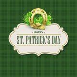 St. Patricks Day vintage holiday badge design. Vector illustration Royalty Free Stock Photo