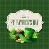 St. Patricks Day vintage holiday badge design. Vector illustration Stock Photo