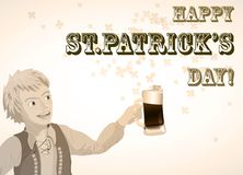 St. Patricks Day vintage shamrock beer and man Royalty Free Stock Photos