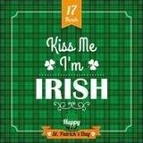 St. Patricks Day Vintage Tartan Cover Kiss Me Stock Photo