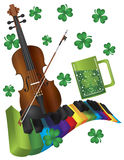 St Patricks Day Violin with Colorful Piano Keyboar. St Patricks Day with Rainbow Colors Piano Wavy Keyboard Violin Shamrock and Green Beer Isolated on White Stock Images