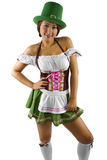 St Patricks Day Waitress. Young Asian female waitress dressed in costume for St Patrick's Day Royalty Free Stock Photo
