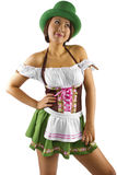 St Patricks Day Waitress. Young Asian female waitress dressed in costume for St Patrick's Day looking at copyspace Royalty Free Stock Photography