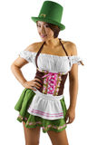 St Patricks Day Waitress. Young Asian female waitress dressed in costume for St Patrick's Day Stock Image