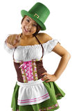 St Patricks Day Waitress. Young Asian female waitress dressed in costume for St Patrick's Day pointing at viewer Royalty Free Stock Photography