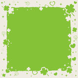 St Patricks decorative frame with lucky clovers Stock Photography
