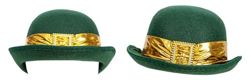 St Patricks Derby Hat Different Positions Isolated royalty free stock photography