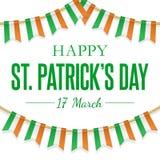 St Patricks dnia kartka z pozdrowieniami z Irlandzkimi tricolour flagami, wisząca girlanda Wektorowy tło Obywatel, kulturalny i ilustracja wektor