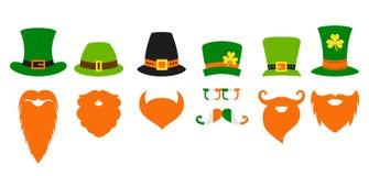 St Patricks dnia leprechaun kapeluszu Świątobliwa broda ilustracja wektor