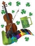 St Patricks dnia skrzypce z Kolorowym Fortepianowym Keyboar ilustracji