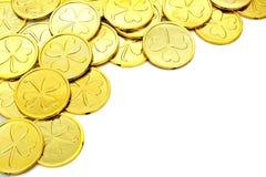 St Patricks dnia złocistej monety granica Obraz Stock