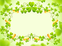 St Patricks frame with green clover leaves. Saint Patricks Day holiday frame with green clover leaves and gold coin to day. Vector illustration. Transparent Royalty Free Stock Images
