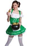 St Patricks Girl. Holding gold Royalty Free Stock Images
