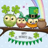 St Patricks greeting card with three owls stock illustration