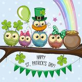 St Patricks greeting card with five Owls Royalty Free Stock Photography