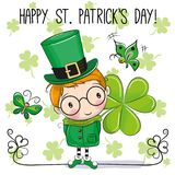 St Patricks greeting card with leprechaun. St Patricks greeting card with cute cartoon leprechaun vector illustration
